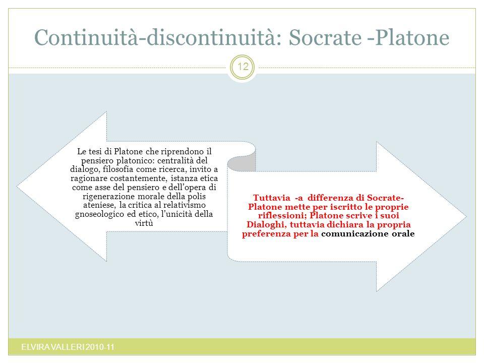 Continuità-discontinuità: Socrate -Platone
