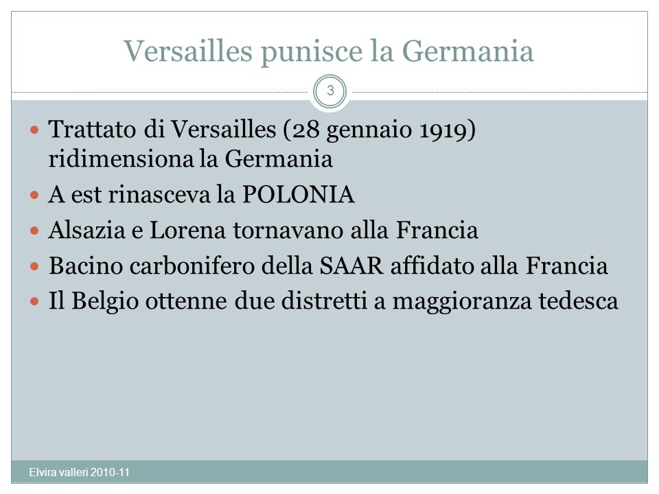 Versailles punisce la Germania