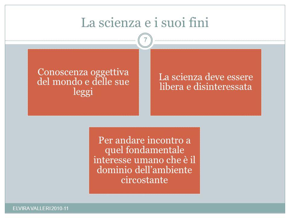 La scienza e i suoi fini ELVIRA VALLERI 2010-11