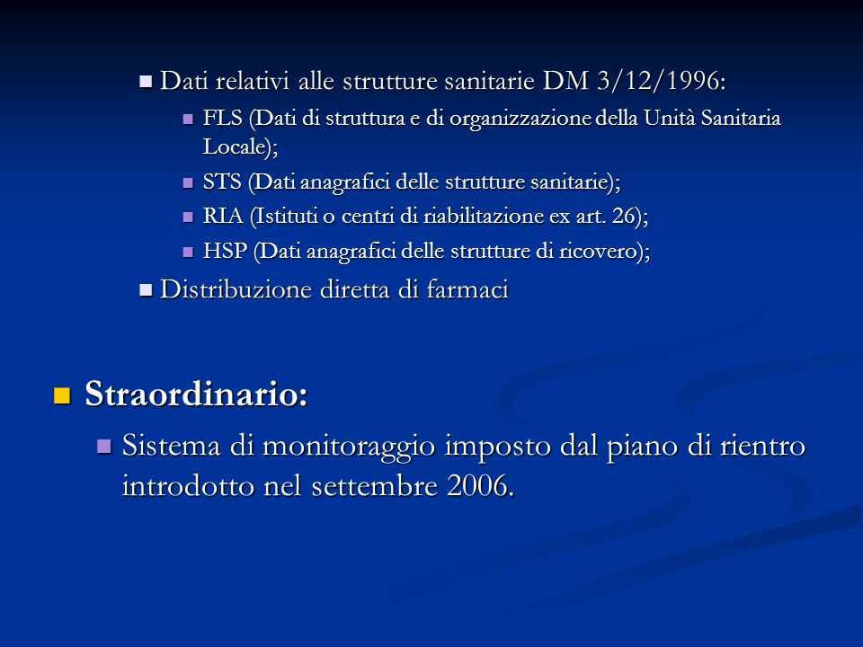 Dati relativi alle strutture sanitarie DM 3/12/1996: