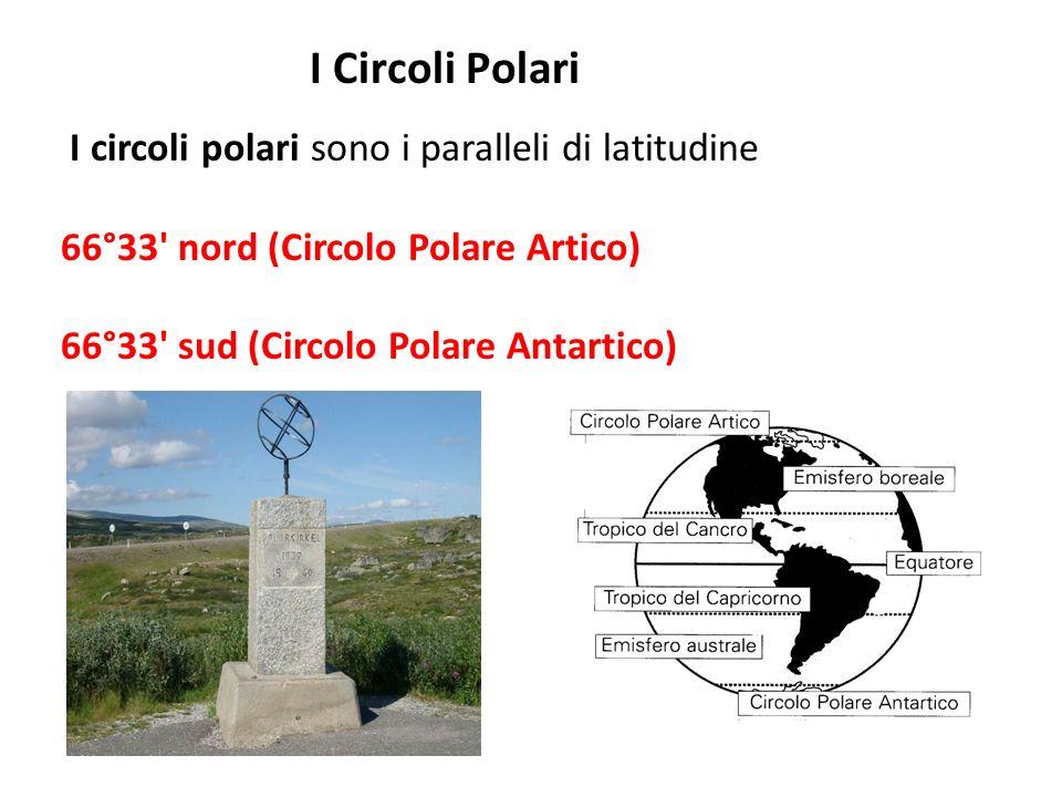 I Circoli Polari I circoli polari sono i paralleli di latitudine