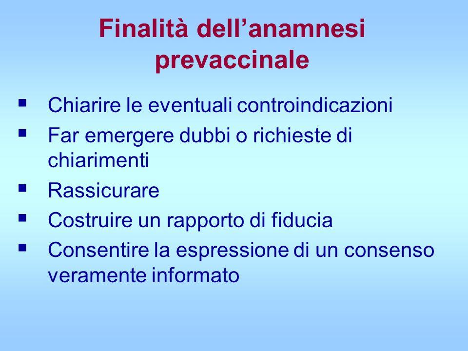 Finalità dell'anamnesi prevaccinale