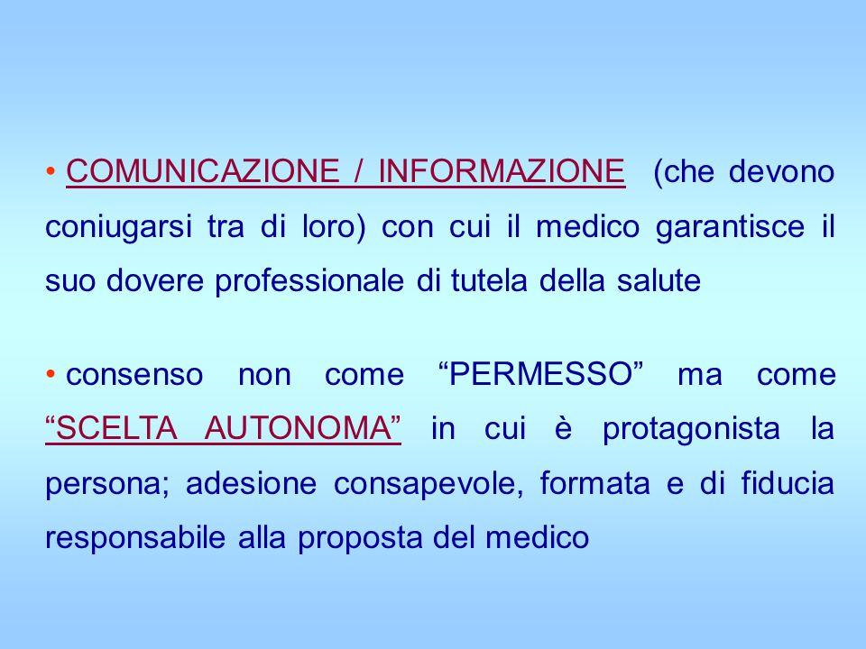 COMUNICAZIONE / INFORMAZIONE (che devono coniugarsi tra di loro) con cui il medico garantisce il suo dovere professionale di tutela della salute