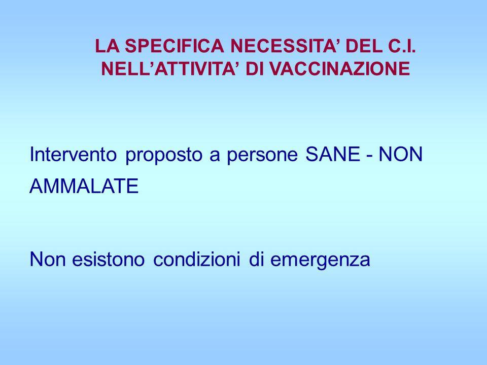 LA SPECIFICA NECESSITA' DEL C.I. NELL'ATTIVITA' DI VACCINAZIONE