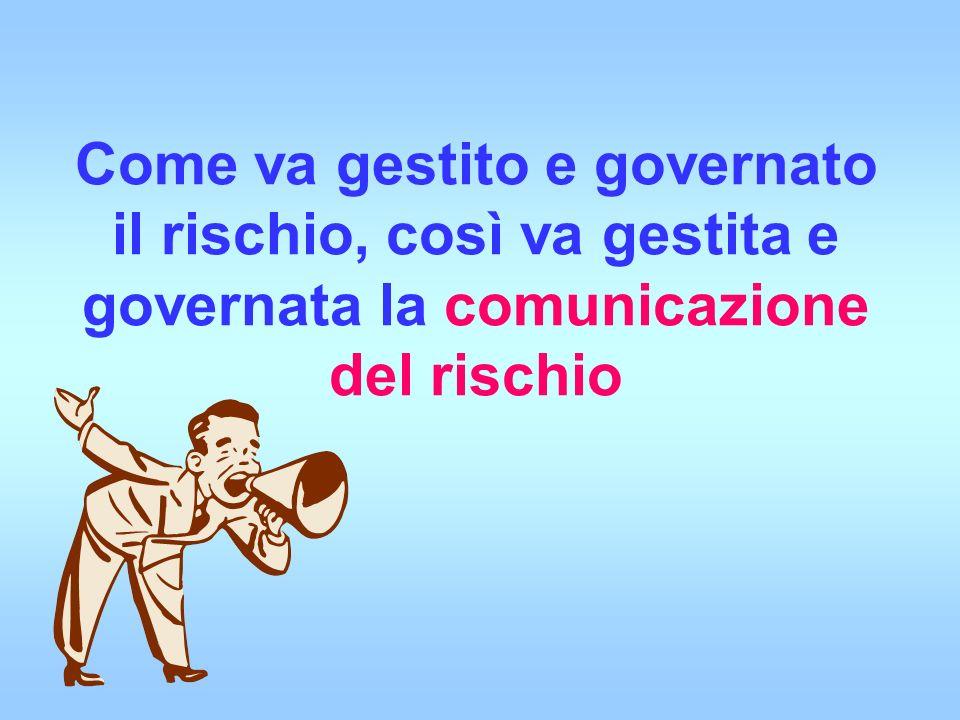 Come va gestito e governato il rischio, così va gestita e governata la comunicazione del rischio