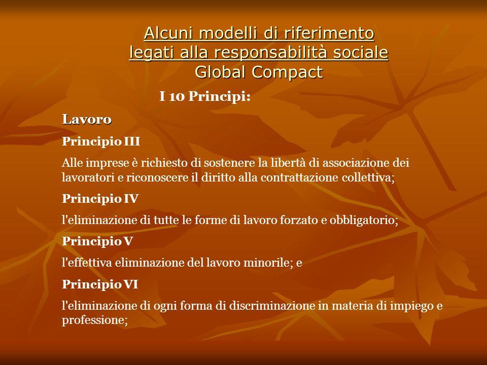 Alcuni modelli di riferimento legati alla responsabilità sociale Global Compact