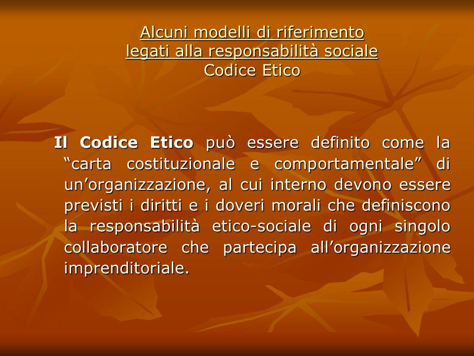 Alcuni modelli di riferimento legati alla responsabilità sociale Codice Etico