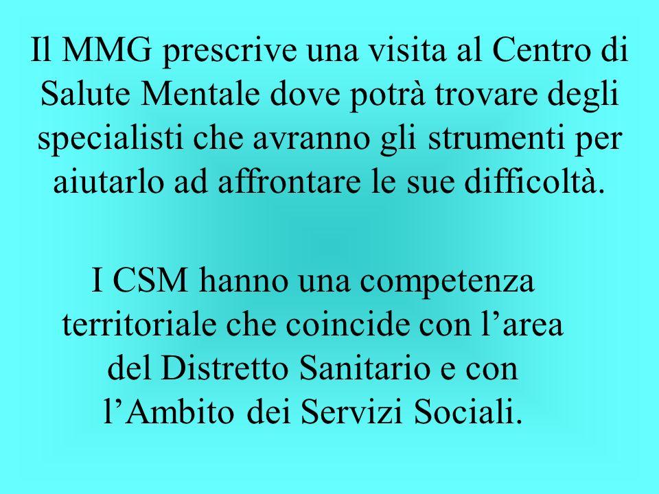 Il MMG prescrive una visita al Centro di Salute Mentale dove potrà trovare degli specialisti che avranno gli strumenti per aiutarlo ad affrontare le sue difficoltà.