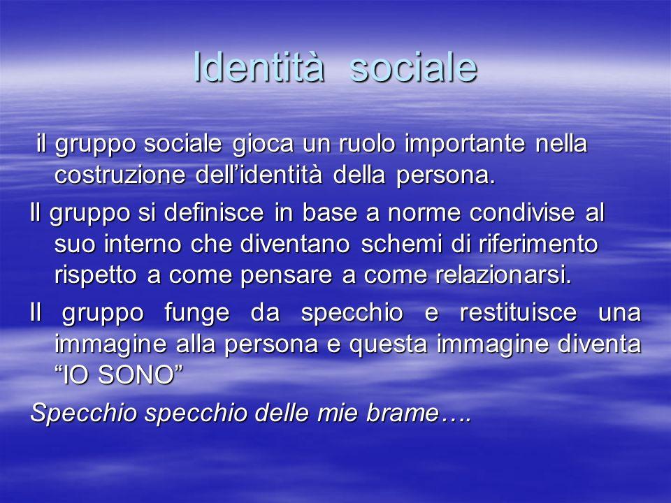 Identità sociale il gruppo sociale gioca un ruolo importante nella costruzione dell'identità della persona.
