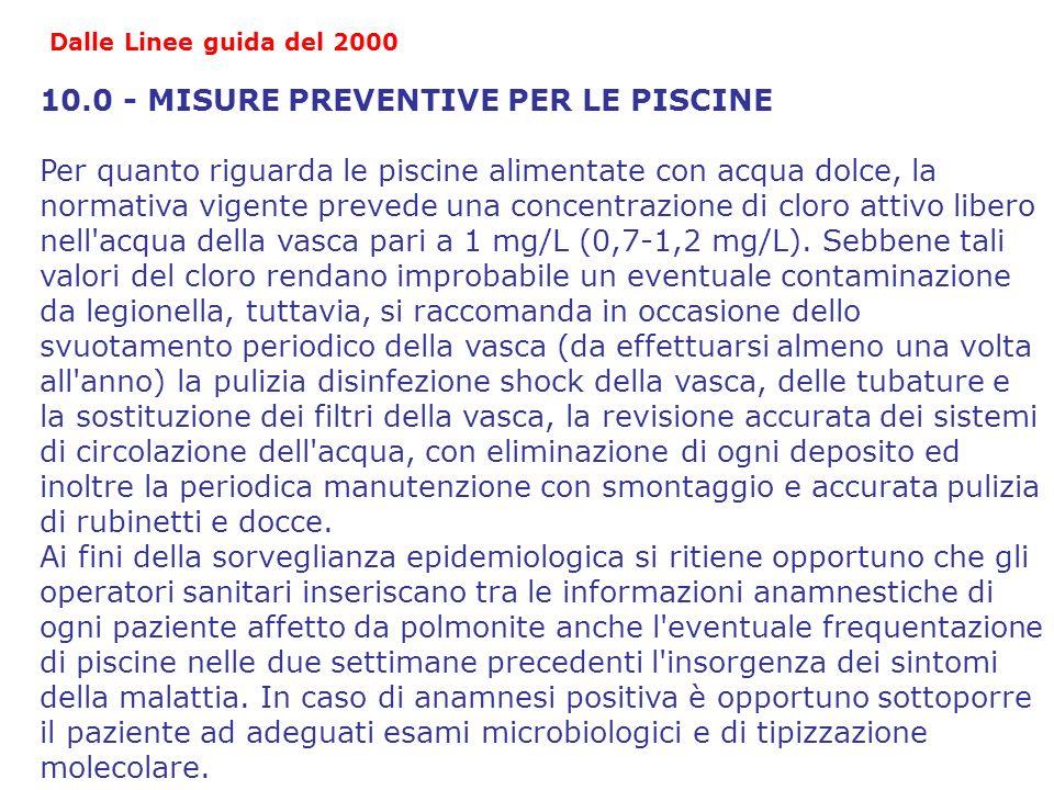 10.0 - MISURE PREVENTIVE PER LE PISCINE