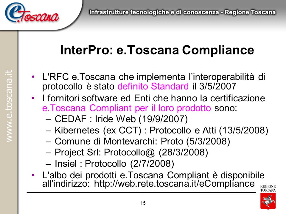 InterPro: e.Toscana Compliance