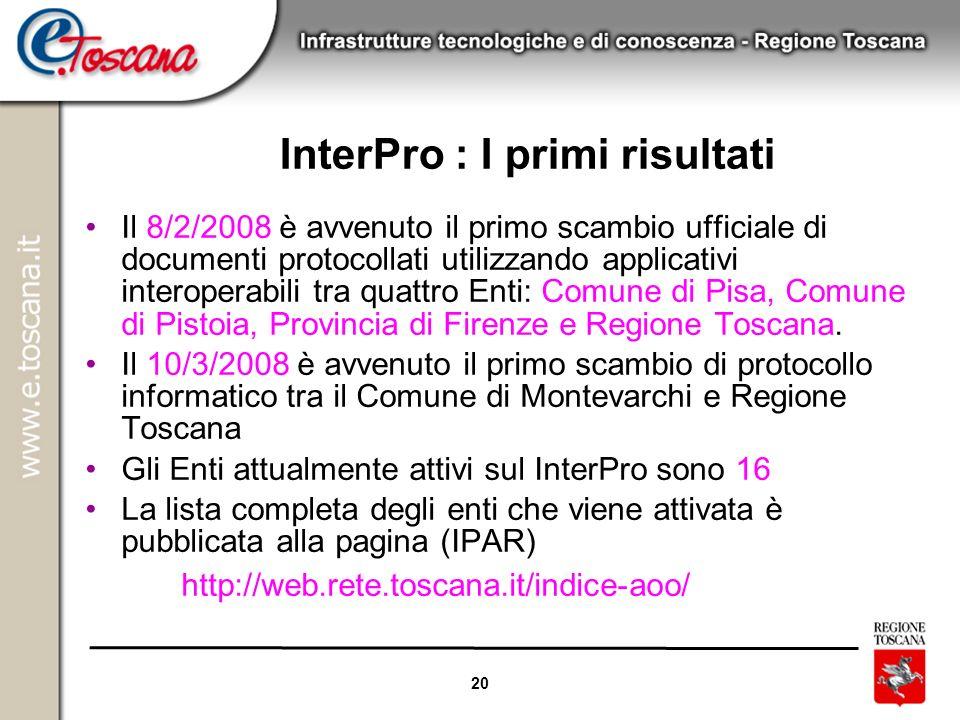 InterPro : I primi risultati