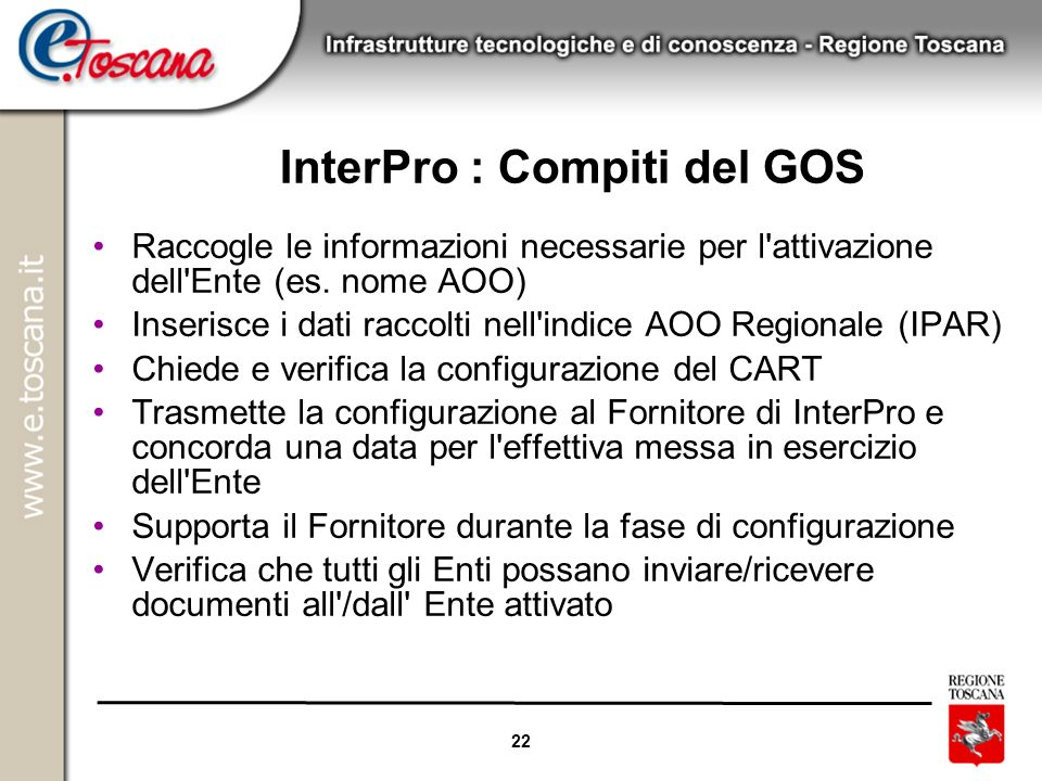 InterPro : Compiti del GOS