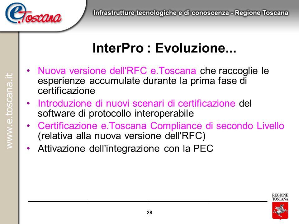 18/06/08 InterPro : Evoluzione... Nuova versione dell RFC e.Toscana che raccoglie le esperienze accumulate durante la prima fase di certificazione.