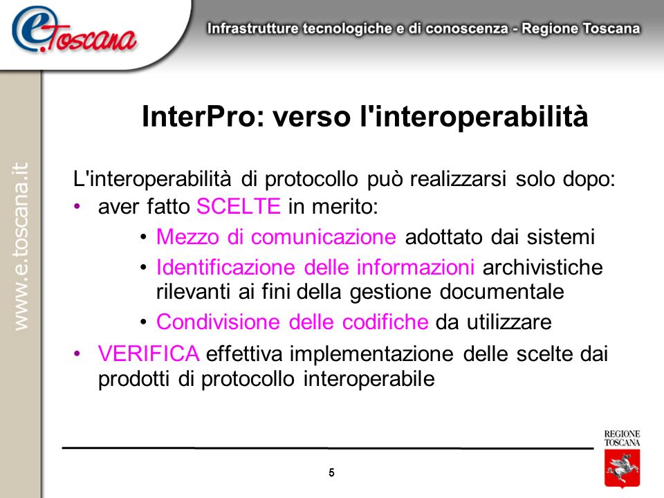 InterPro: verso l interoperabilità