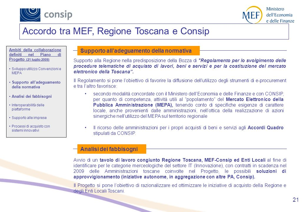 Accordo tra MEF, Regione Toscana e Consip