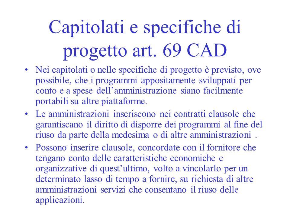 Capitolati e specifiche di progetto art. 69 CAD