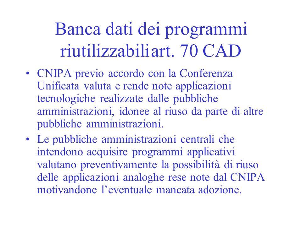 Banca dati dei programmi riutilizzabili art. 70 CAD