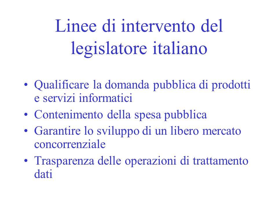 Linee di intervento del legislatore italiano