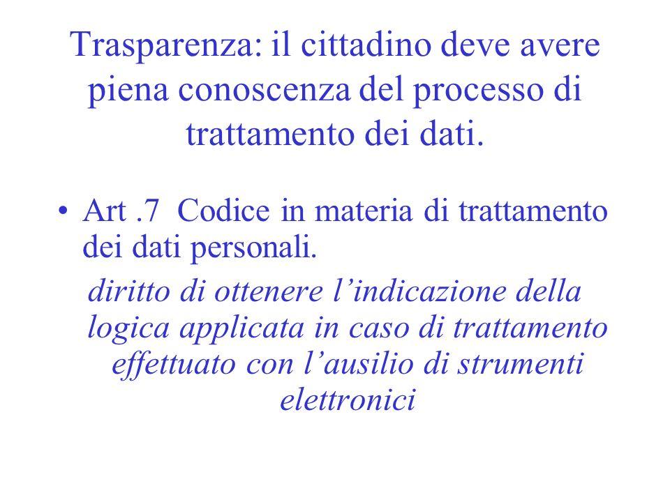 Trasparenza: il cittadino deve avere piena conoscenza del processo di trattamento dei dati.