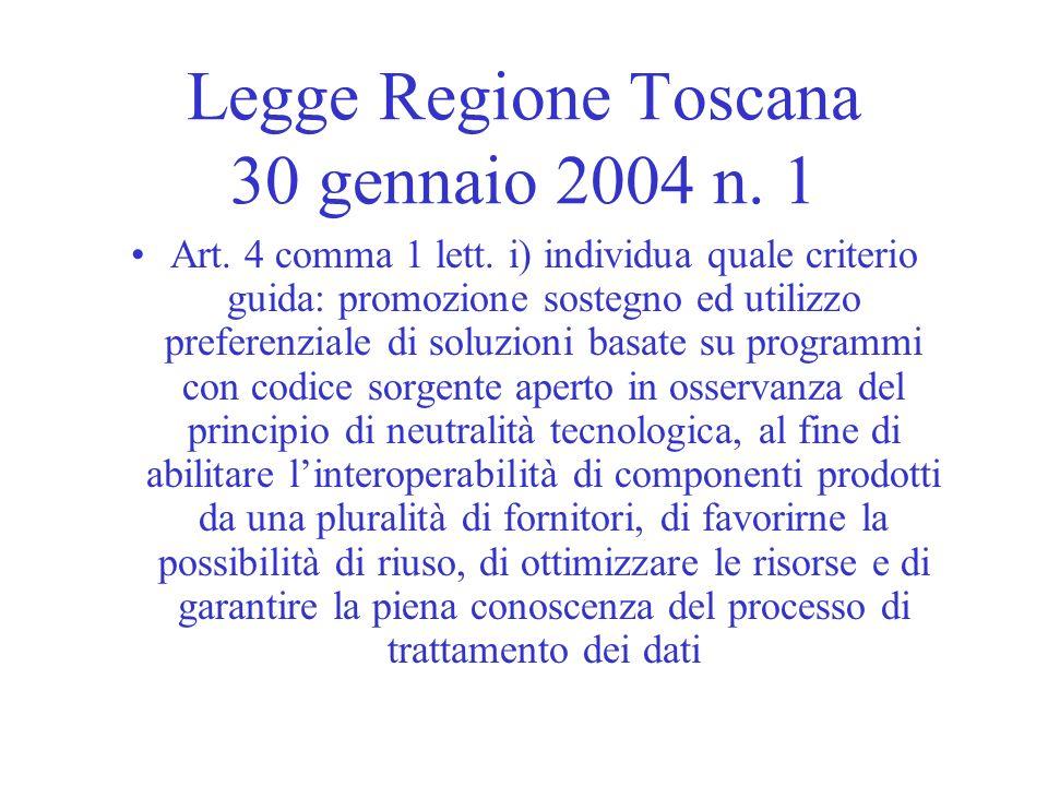 Legge Regione Toscana 30 gennaio 2004 n. 1
