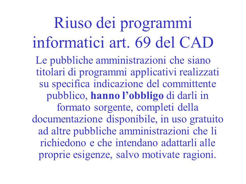 Riuso dei programmi informatici art. 69 del CAD
