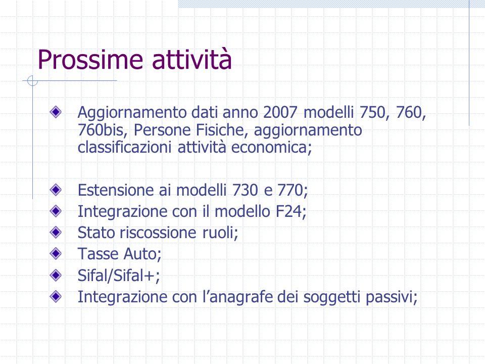 Prossime attività Aggiornamento dati anno 2007 modelli 750, 760, 760bis, Persone Fisiche, aggiornamento classificazioni attività economica;