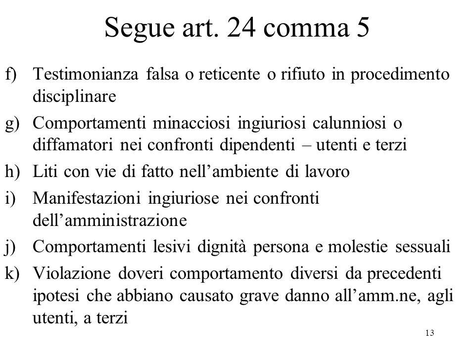 Segue art. 24 comma 5 Testimonianza falsa o reticente o rifiuto in procedimento disciplinare.