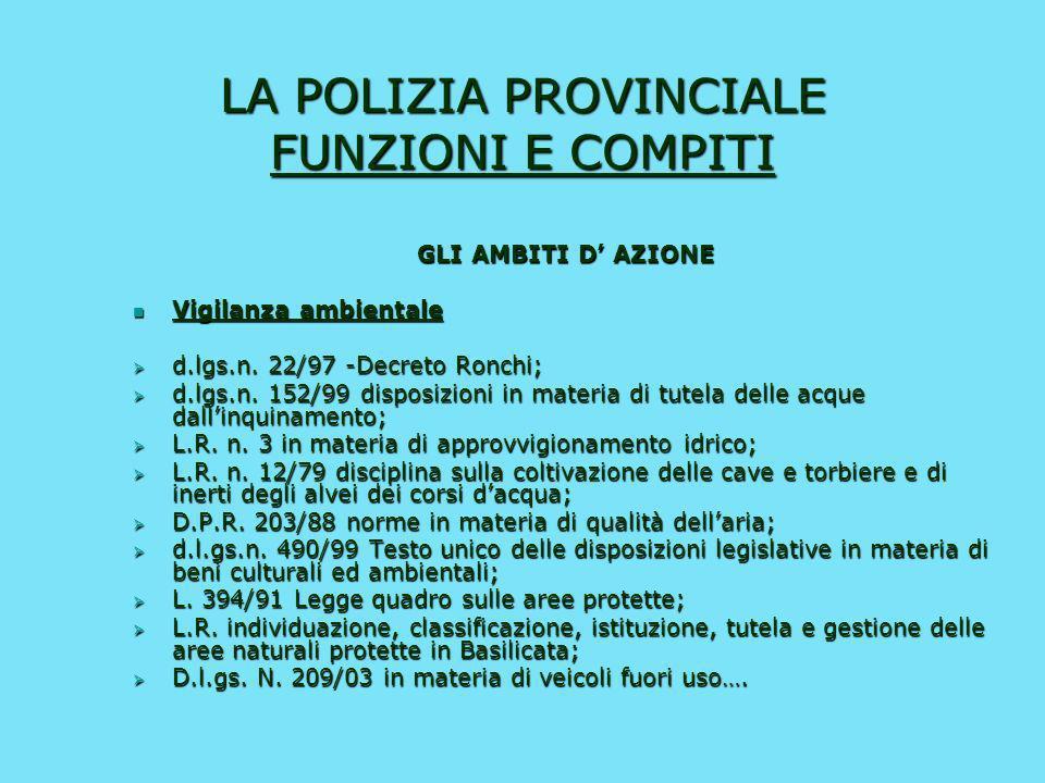 LA POLIZIA PROVINCIALE FUNZIONI E COMPITI