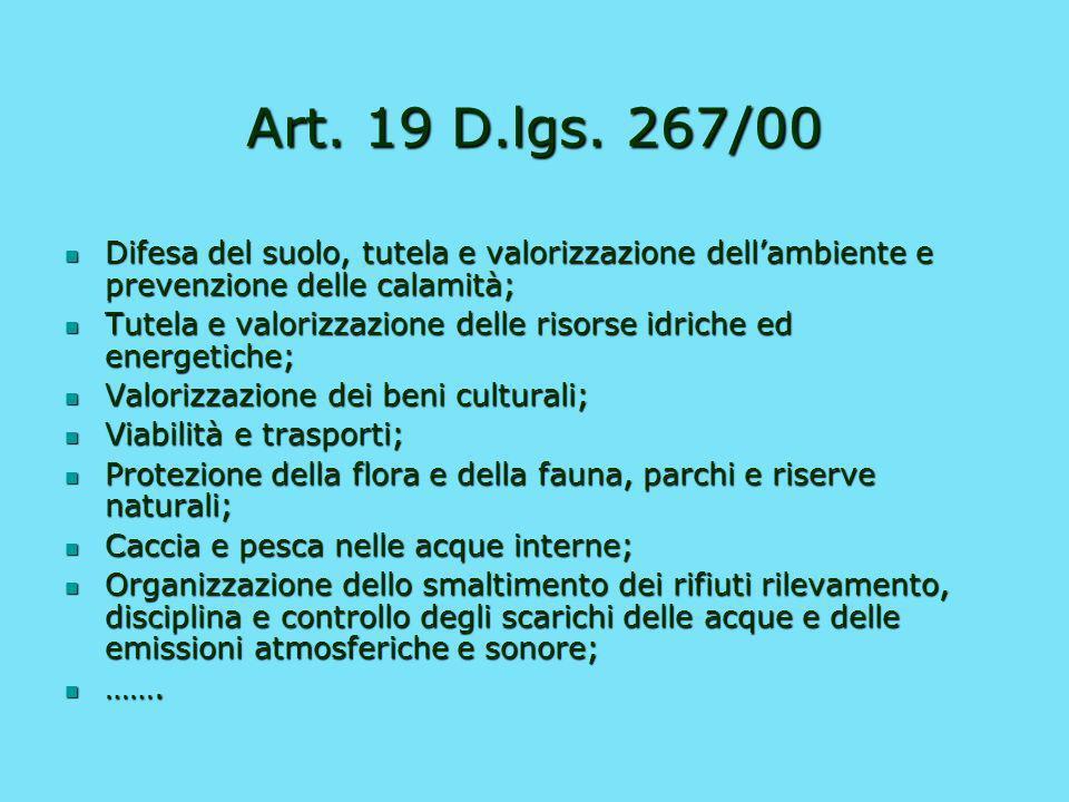 Art. 19 D.lgs. 267/00 Difesa del suolo, tutela e valorizzazione dell'ambiente e prevenzione delle calamità;
