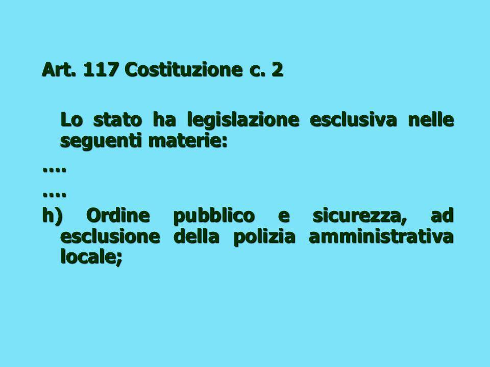 Art. 117 Costituzione c. 2 Lo stato ha legislazione esclusiva nelle seguenti materie: ….