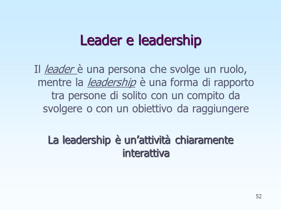 La leadership è un'attività chiaramente interattiva