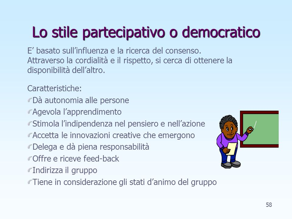 Lo stile partecipativo o democratico