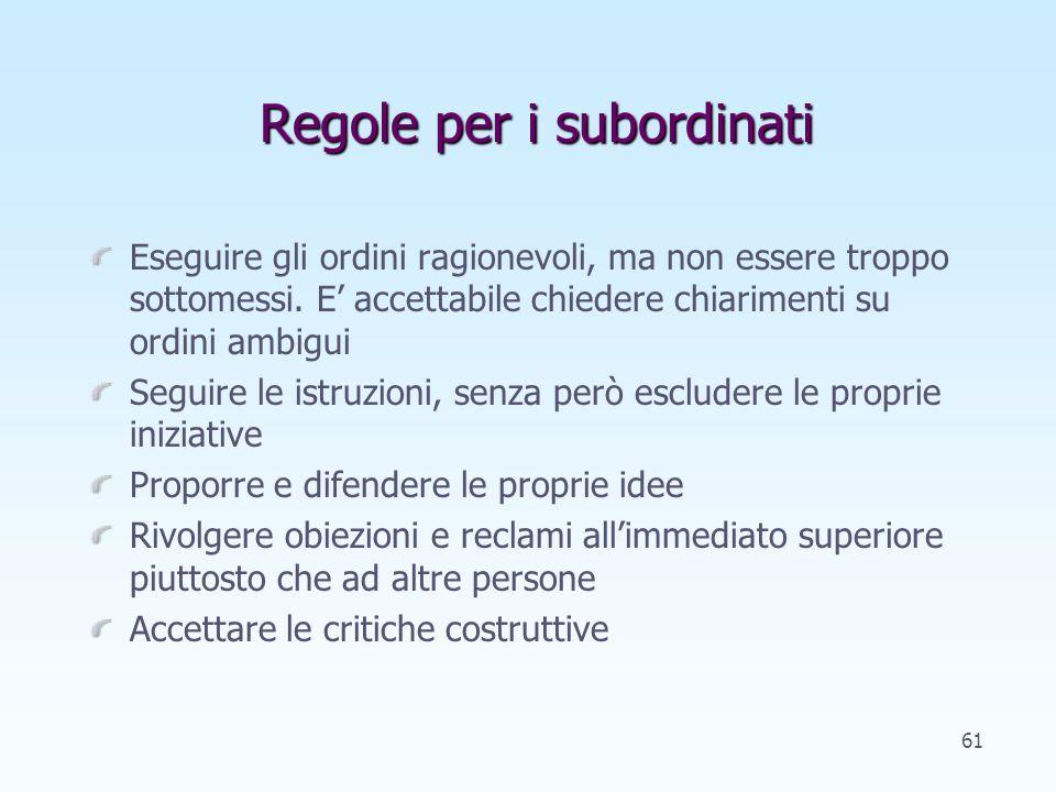 Regole per i subordinati