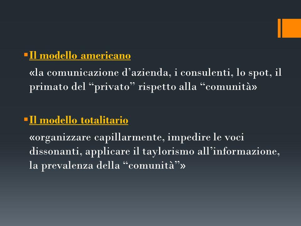 Il modello americano «la comunicazione d'azienda, i consulenti, lo spot, il primato del privato rispetto alla comunità»