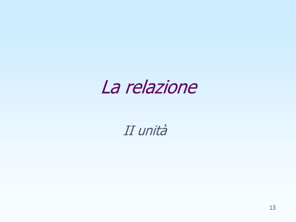La relazione II unità 13