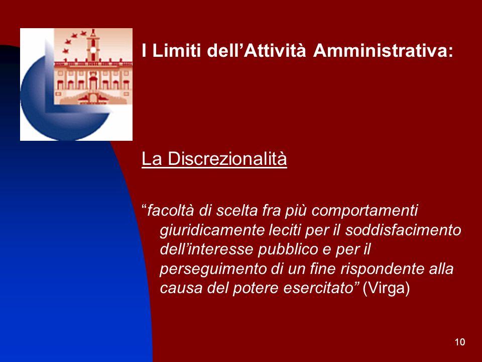 I Limiti dell'Attività Amministrativa: