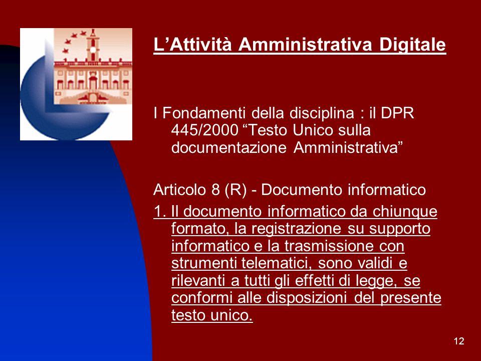 L'Attività Amministrativa Digitale