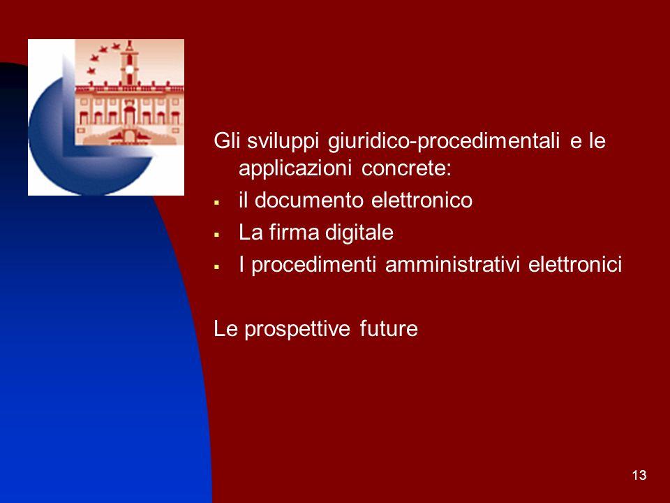 Gli sviluppi giuridico-procedimentali e le applicazioni concrete: