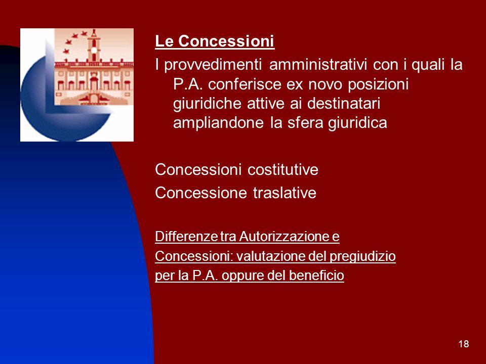 Concessioni costitutive Concessione traslative