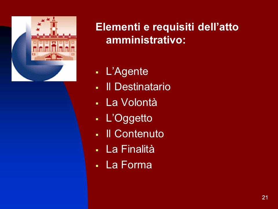 Elementi e requisiti dell'atto amministrativo: