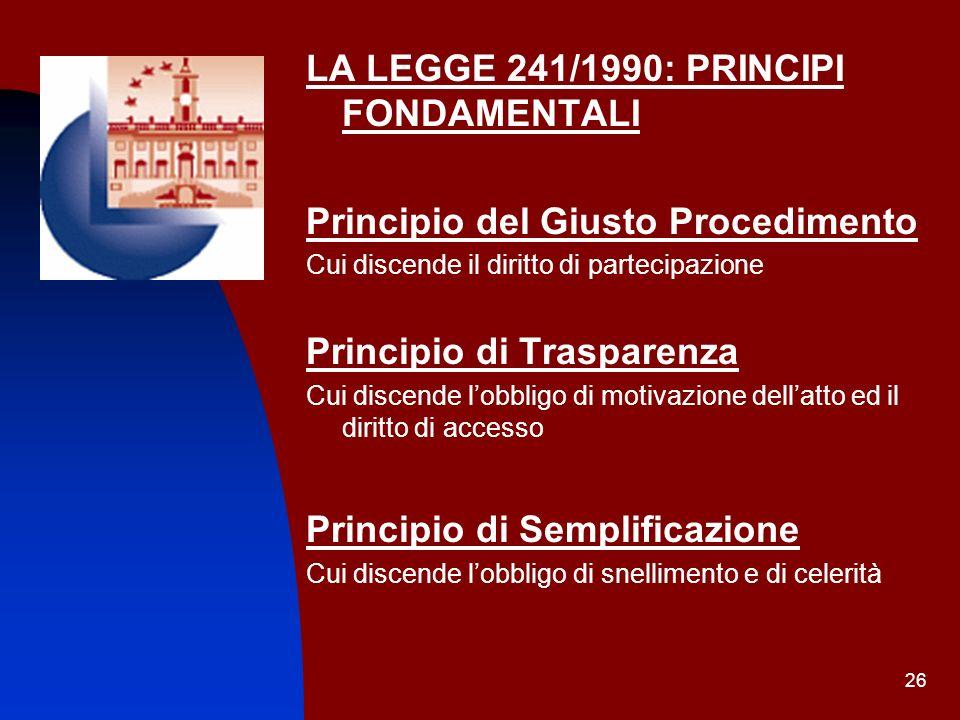 LA LEGGE 241/1990: PRINCIPI FONDAMENTALI