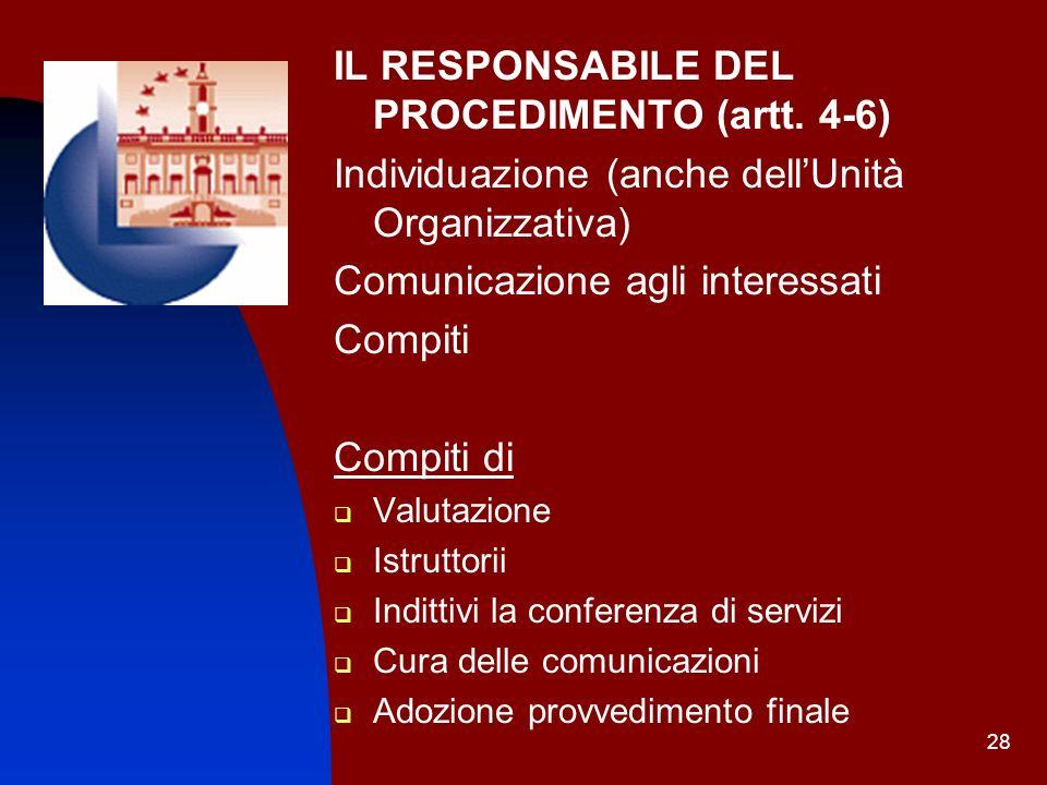 IL RESPONSABILE DEL PROCEDIMENTO (artt. 4-6)