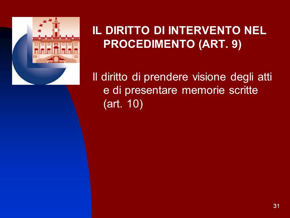 IL DIRITTO DI INTERVENTO NEL PROCEDIMENTO (ART. 9)