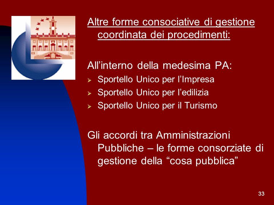 Altre forme consociative di gestione coordinata dei procedimenti: