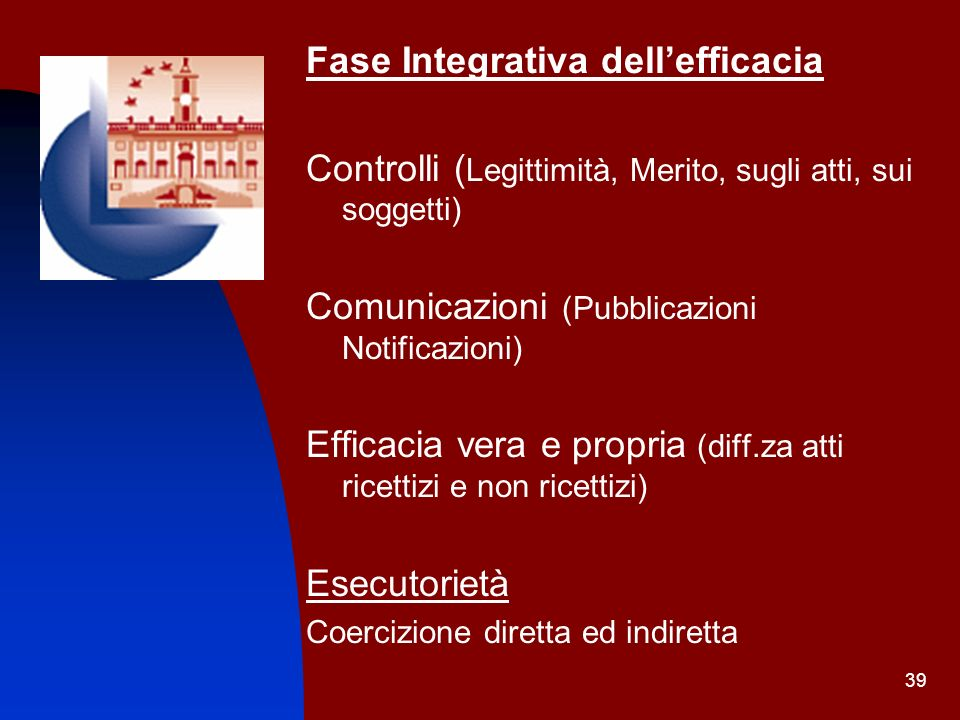 Fase Integrativa dell'efficacia