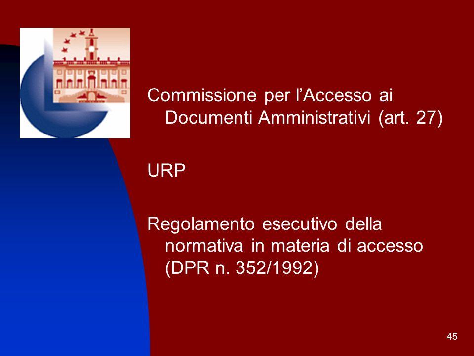 Commissione per l'Accesso ai Documenti Amministrativi (art. 27)