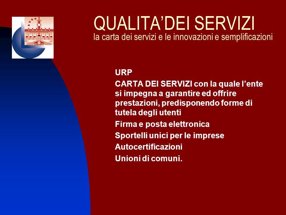 QUALITA'DEI SERVIZI la carta dei servizi e le innovazioni e semplificazioni