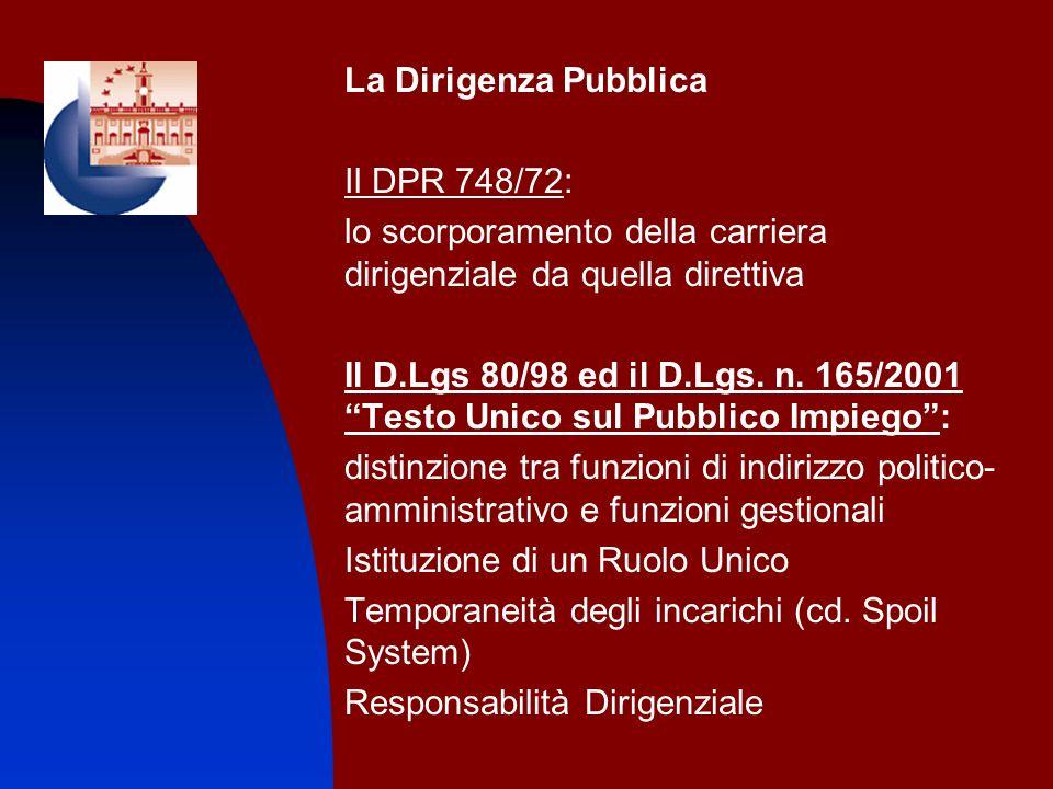 La Dirigenza Pubblica Il DPR 748/72: lo scorporamento della carriera dirigenziale da quella direttiva.