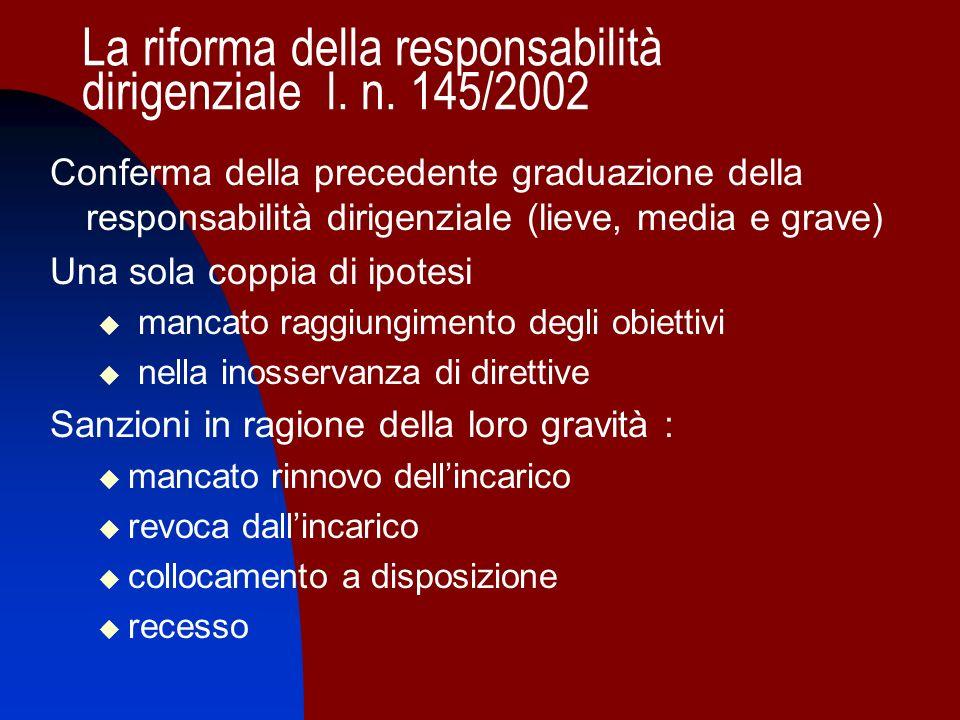La riforma della responsabilità dirigenziale l. n. 145/2002